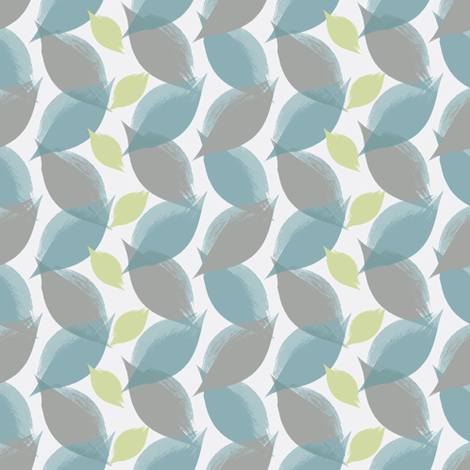 Leaf Strokes in Peacock, Grey, and Pea fabric by bluenini on Spoonflower - custom fabric