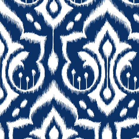 Ikat Damask - Midnight Navy