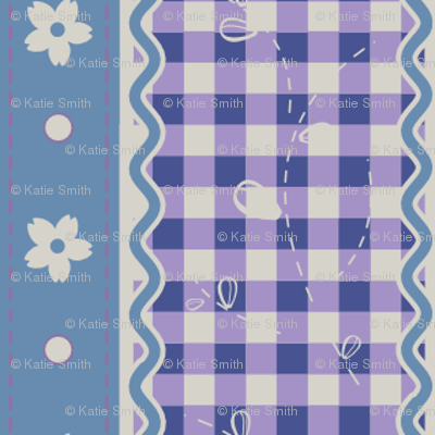 Lavender Gingham Stripes
