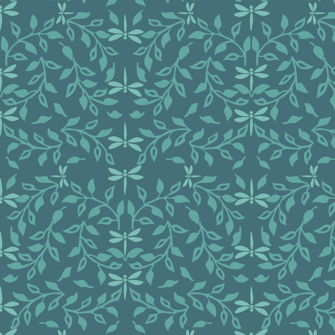 Leafy Field Arts & Crafts style fabric lt-green & deep-bluegreen with dragonflies fabric by mina on Spoonflower - custom fabric