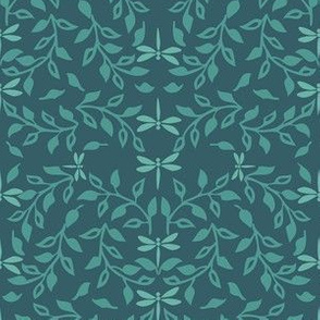 Leafy Field Arts & Crafts style fabric lt-green & deep-bluegreen with dragonflies