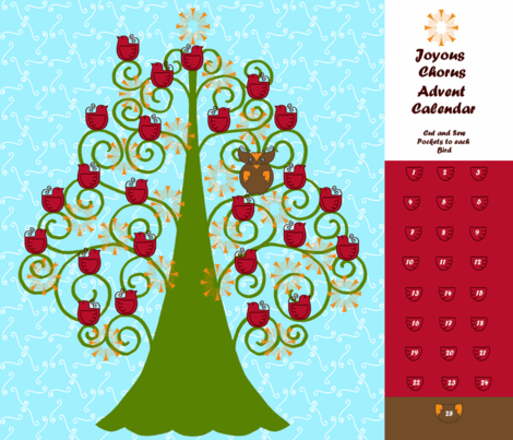 Joyous Chorus Advent Calendar fabric by kdl on Spoonflower - custom fabric