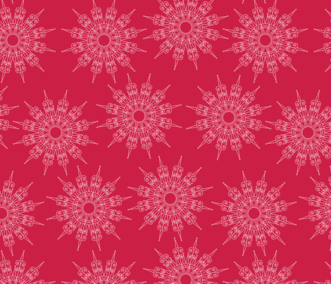 white snowflakes on red fabric by suziedesign on Spoonflower - custom fabric