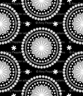 Bandana (Black & White)    scarf handkerchief stars starburst circles flowers fireworks geometric mandala