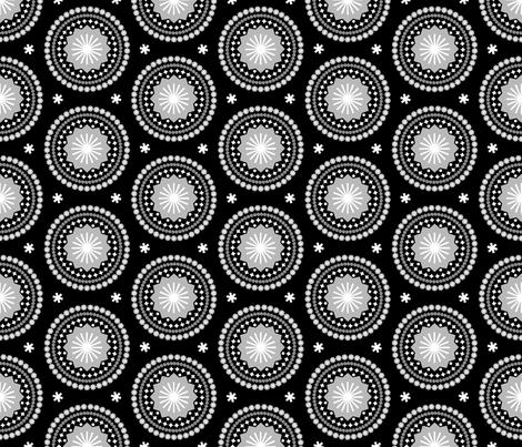 Bandana (Black & White)    scarf handkerchief stars starburst circles flowers fireworks geometric mandala fabric by pennycandy on Spoonflower - custom fabric