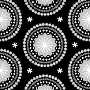 Bandana (Black & White) || scarf handkerchief stars starburst circles flowers fireworks geometric mandala