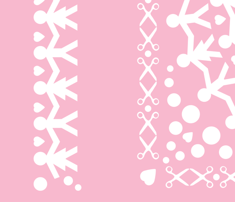 Pink Paper Chain Dolls Quilt fabric by pininkie on Spoonflower - custom fabric
