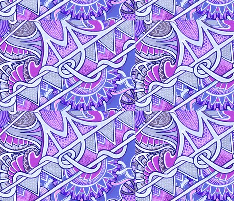 Blue Diamond Tiki Tangle fabric by edsel2084 on Spoonflower - custom fabric