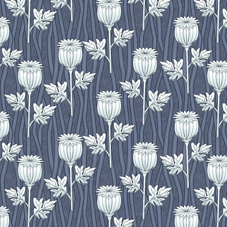 poppies delft fabric by glimmericks on Spoonflower - custom fabric