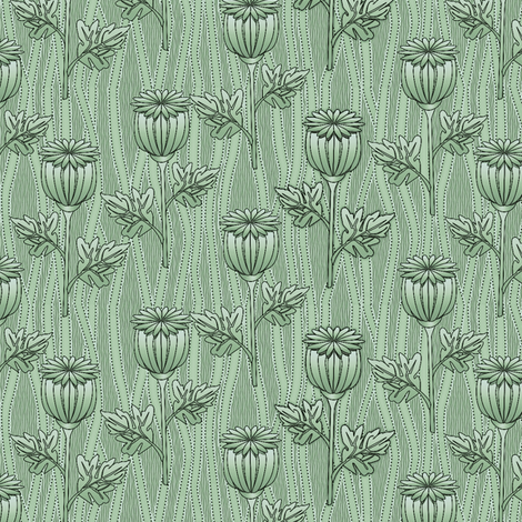 poppies mint fabric by glimmericks on Spoonflower - custom fabric