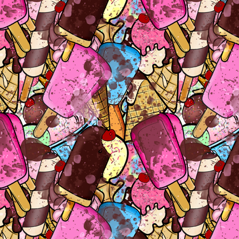 Sweets and Treats- Ice Cream Mess fabric by mystikel on Spoonflower - custom fabric