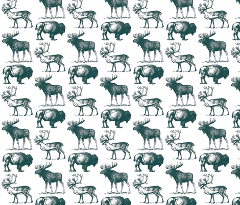 Vintage Hoofed Heavy Weights in Blue  fabric by icarpediem on Spoonflower - custom fabric