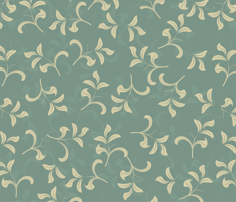 blue vintage leave pattern fabric by anastasiia-ku on Spoonflower - custom fabric