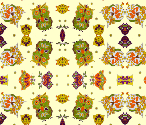 Owls - pale yellow fabric by bettinablue_designs on Spoonflower - custom fabric