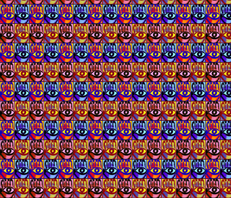 Pop Art  Mod Hamsa Evil Eye  fabric by katie322 on Spoonflower - custom fabric