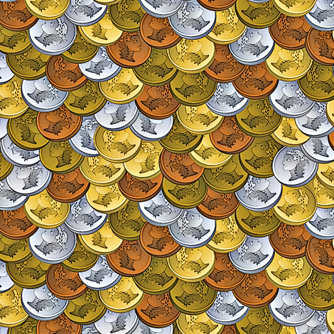 coins collected fabric by glimmericks on Spoonflower - custom fabric