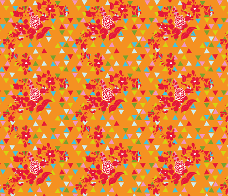 Sprigs and Triangles on Orange fabric by carinaenvoldsenharris on Spoonflower - custom fabric