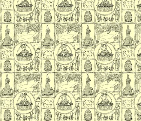 Easter mini toile - black on pastel yellow