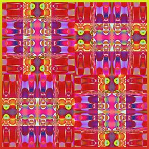 Abstract Pillow II--Four Qbist Blocks  21x18