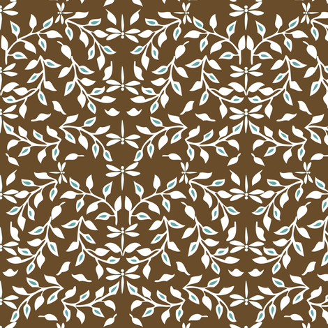 Leafy Field Arts & Crafts style fabric - white & brown with dragonflies