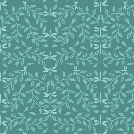 Leafy Field Arts & Crafts style fabric lt-green & med-gray-bluegreen with dragonflies