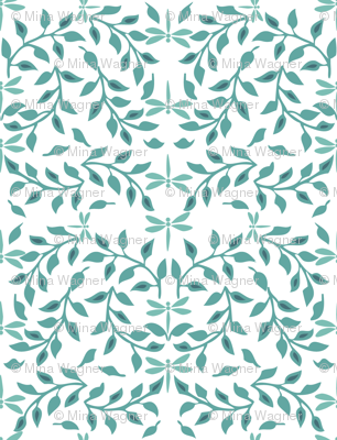 Leafy Field Arts & Crafts style fabric - bluegreen & white with dragonflies