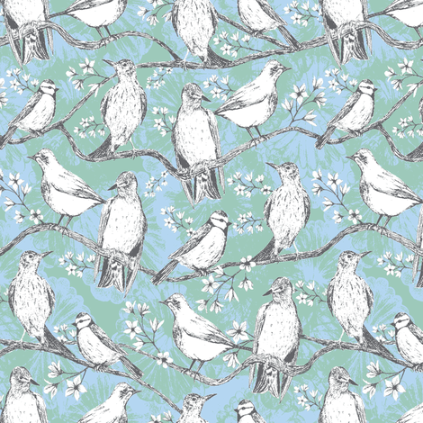 Birdies light fabric by kezia on Spoonflower - custom fabric