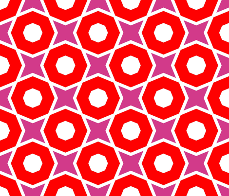 Large Red Octagons fabric by stoflab on Spoonflower - custom fabric