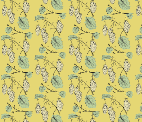 Hops (gold) fabric by phillip_markel on Spoonflower - custom fabric