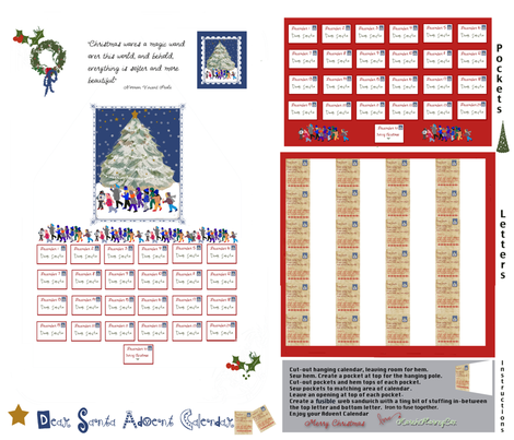 Dear Santa Adent Calendar fabric by karenharveycox on Spoonflower - custom fabric
