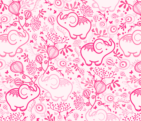 Pink Elephants With Bouquets fabric by oksancia on Spoonflower - custom fabric