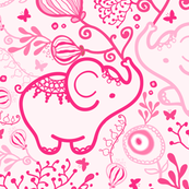 Pink Elephants With Bouquets