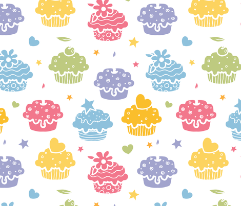 Colorful Yummy Cupcakes fabric by oksancia on Spoonflower - custom fabric