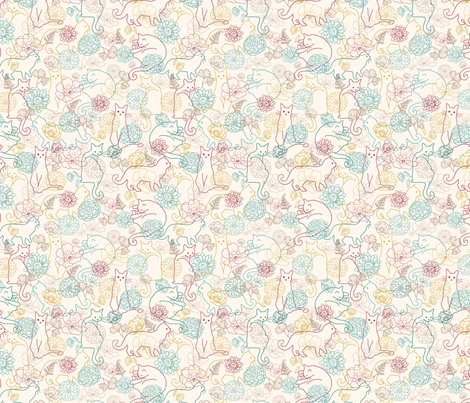 Cats in the garden fabric by oksancia on Spoonflower - custom fabric