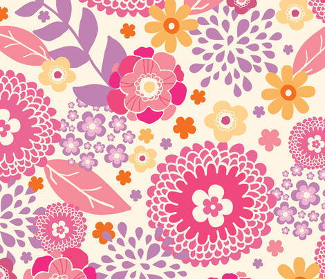 Vibrant Floral Garden fabric by oksancia on Spoonflower - custom fabric