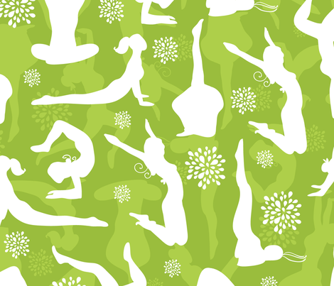 Green Yoga Poses Silhouettes fabric by oksancia on Spoonflower - custom fabric