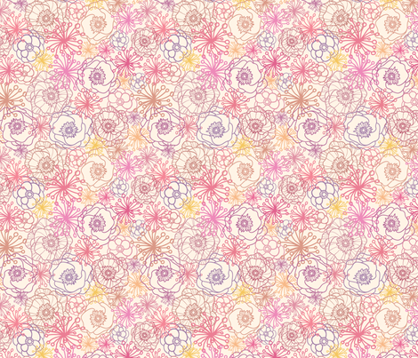 Field Flowers Lineart fabric by oksancia on Spoonflower - custom fabric