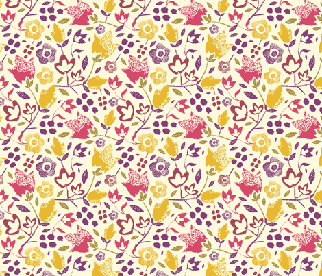 Filed Flowers - Stamped fabric by oksancia on Spoonflower - custom fabric
