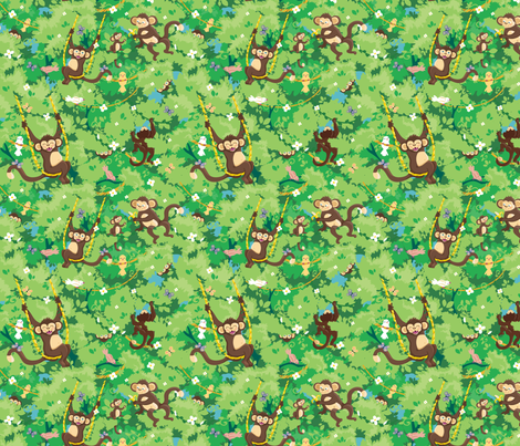 Playful Monkeys fabric by oksancia on Spoonflower - custom fabric