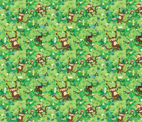 Playful Monkeys fabric by oksancia on Spoonflower - custom fabric