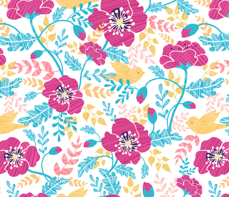 Pink And Blue Poppies fabric by oksancia on Spoonflower - custom fabric