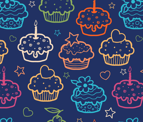 Cupcakes On Dark Blue fabric by oksancia on Spoonflower - custom fabric