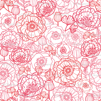 Poppies Line Art