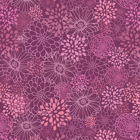 Purple Flowers fabric by oksancia on Spoonflower - custom fabric