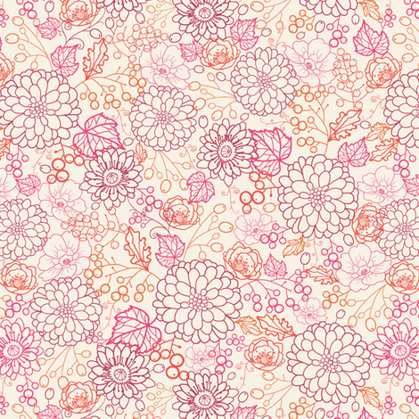 Sweet Flowers and Berries fabric by oksancia on Spoonflower - custom fabric