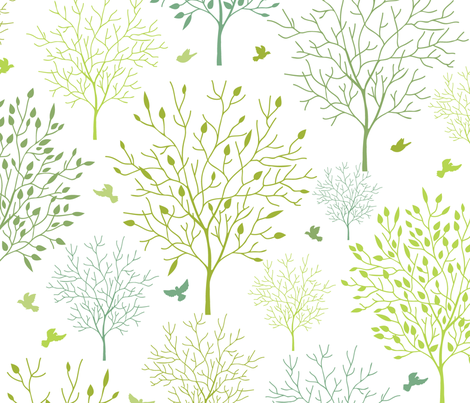 Birds In The Spring Garden fabric by oksancia on Spoonflower - custom fabric