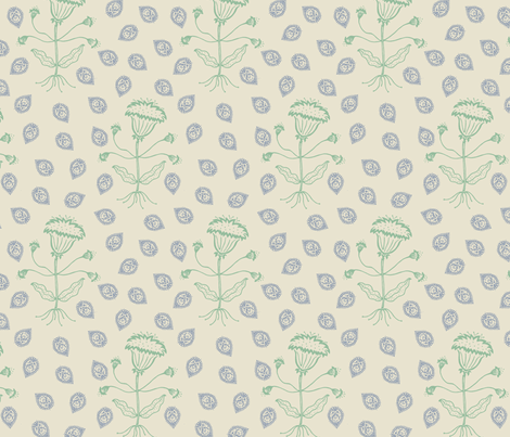 Jaipur in sage/denim fabric by domesticate on Spoonflower - custom fabric