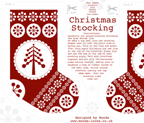 Christmas Stocking with Tree fabric by mondaland on Spoonflower - custom fabric