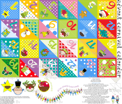Advent Carnival Calendar kit (with 24 double-faced cones + bonus) - pls zoom