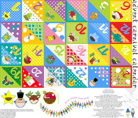 Advent Carnival Calendar kit (with 24 double-faced cones + bonus) - pls zoom fabric by majobv on Spoonflower - custom fabric